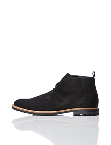 FIND Men's Classic Casual Chukka Boots, Black, 12 UK