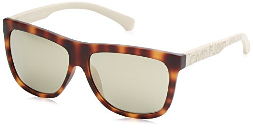 Calvin klein jeans wayfarer eye occhiali da sole, wayfarer, 58, havana