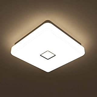 Onforu 24w LED Ceiling Light, 2100 LM IP65 Waterproof Super Bright Flush Square Bathroom Lights, 90+ CRI 2700K Warm White Wall Mounted Ceiling Lamp for Living Room, Kitchen, Bedroom