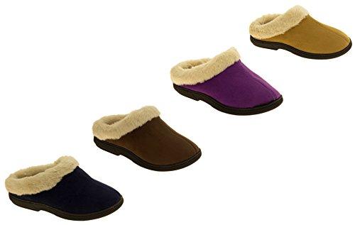 Femmes 'Coolers' en fourrure doublé faux daim chaud pantoufles mule