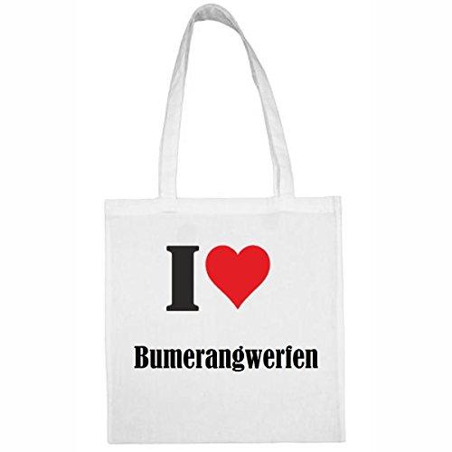 """Tasche""""I Love Bumerangwerfen""""Größe""""38x42""""Farbe""""Weiss""""Druck""""Schwarz"""