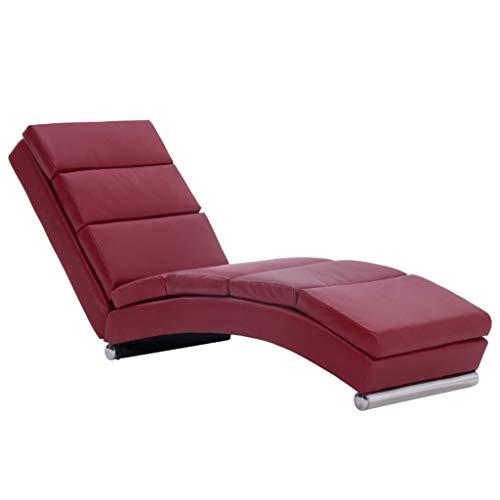 Tidyard Chaise Longue Interieur   Méridienne   Canapé Chaise Longue Similicuir Rouge Bordeaux