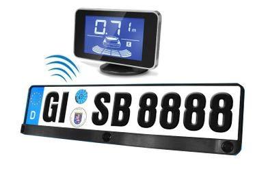 YMPA Einparkhilfe Funk Kabellos Parkpilot universal integriert Kennzeichenhalterung Nummernschild Kennzeichen Halterung hinten Sensoren PDC zum nachrüsten und einbauen für Garage Auto PKW KFZ EH-NSF