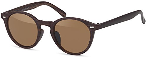 Balinco Runde Vintage Sonnenbrille im angesagten Unisex Rund für Herren & Damen - Retro Brille (Holzoptik - Dunkelbraun)