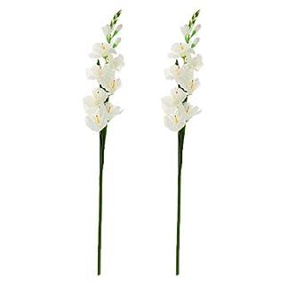 B Blesiya 2 Piezas Flores Artificiales Flores De Gladiolo De Seda con Tallo para Arreglos Florales Boda Hogar Decoración De Bricolaje (Blanco)