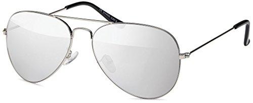 MOKIES Unisex Sonnenbrillen - UV400 Filterkategorie 3 CE Kennzeichnung - Pilotenbrille Fliegerbrille - Polycarbonat - Edelstahl - 502 silber