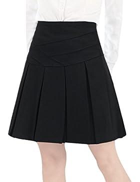ZhiYuanAN Mujer Midi Falda Plisada Talla Grande Color Sólido A Línea Faldas De Vuelo Salvaje Casual Falda Skater...