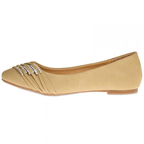 CASPAR SBA004 Chaussures pour femme - ballerines avec petites boucles et strass Beige