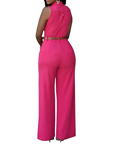 SaiDeng Femmes Rompers Sans Manches Partie De Soirée Jumpsuit Pantalons Avec Ceinture Rose