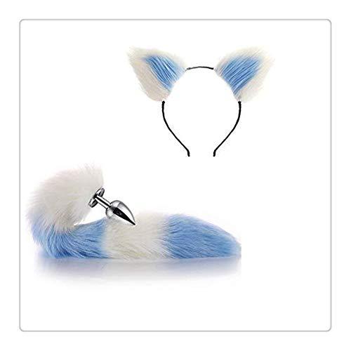 Z-one 1 Halloween Party Spielzeug Pop-Up Spiel Liebe Geschenk Bekleidung Set Metall Fuchs Hund Schwanz + kurze Plüsch Ohr Katze Damen Kopfbedeckung (weiß und - Katze Hunde Paare Kostüm