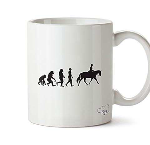 Hippowarehouse Horse Rider Evolution 283,5gram Mug Cup, Céramique, blanc, One Size (10oz)