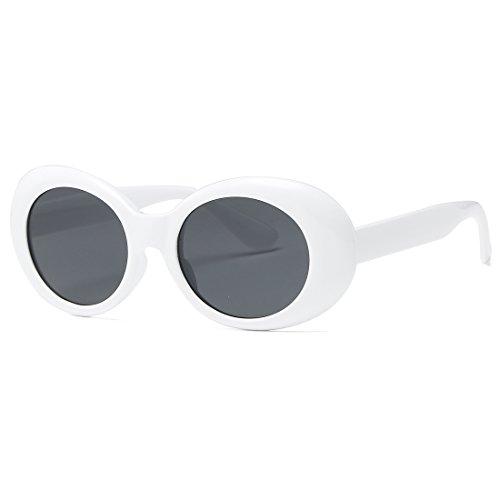 kimorn Clout Goggles Sonnenbrillen für Damen Oval Rahmen Metallscharniere Sonne Gläser K0567 (Weiß&Schwarz)