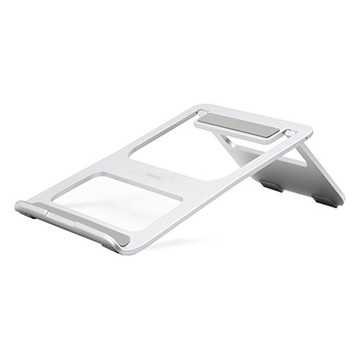MOSISO Faltbarer Laptop Standplatz, Beweglicher Aluminiumlegierungs Standplatz Halter mit justierbarer Haltewinkel Kompatibel iPad/Surface Pro, MacBook Air/Pro und anderes Laptop Notebook, Silber