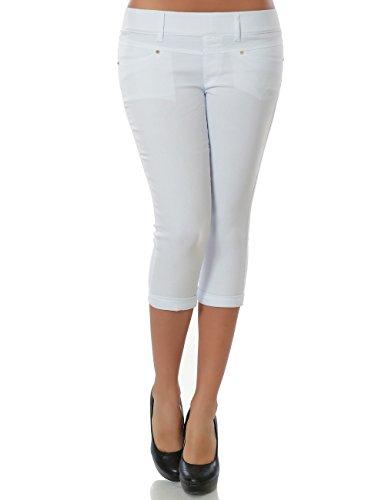Damen Capri Hose Sommerhose Kurze-Hosen (weitere Farben) No 15527, Farbe:Weiß;Größe:42 / XL