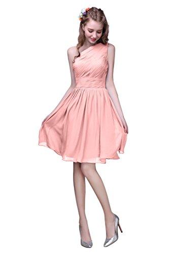 EnjoyBridal® Robe Femme Soirée Cérémonie Party Robe Asymétrique Courte Laçage Epaule Nue Robe d'Honneur Demoiselle En Mousseline de soie Robe plissée Rose