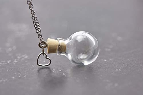 Wunschkugel Herz mini silber echtes Boro Glas befüllbar personalisiert...