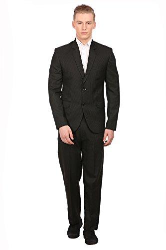 Wintage Herren PV Merino Wolle Blend Notch Revers Schwarz Pin Streifen Anzug: XS (Wolle Stripe Anzug Herren)