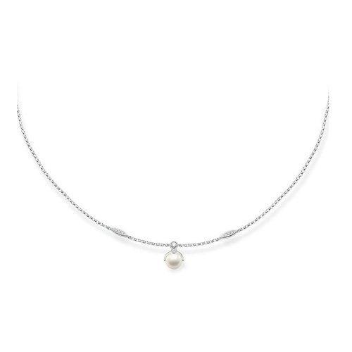 Thomas Sabo Damen-Kette mit Anhänger Glam & Soul Collier 925 Silber Zirkonia transparent Perle 45 cm - KE1389-167-14-L45v