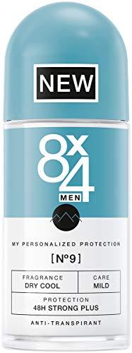 8X4 Men Deo Roll-On N°9 Dry Cool Herren Deodorant, mit aromatischem Minz-Duft, 48h zuverlässiger Anti-Transpirant-Schutz für jeden Hauttyp, 1er Pack (1 x 150 ml) - Protection Anti Perspirant Deodorant Spray
