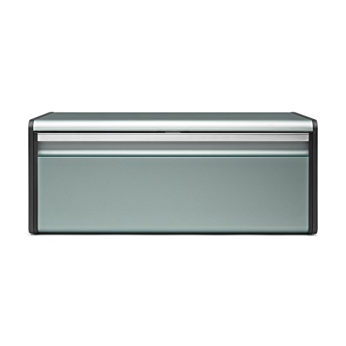 Brabantia 484322 - Caja de pan con tapa abatible, Menta Metallic Mint, 46.5 x 25 x 18.7 cm