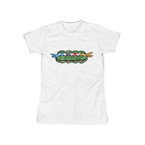 licaso Frauen T-Shirt mit Aufdruck in Weiß Gr. M Ninja Schildkröte Comic Design Girl Top Mädchen Shirt Damen Basic 100% Baumwolle Kurzarm (Ninja Schildkröte-mädchen-shirt)