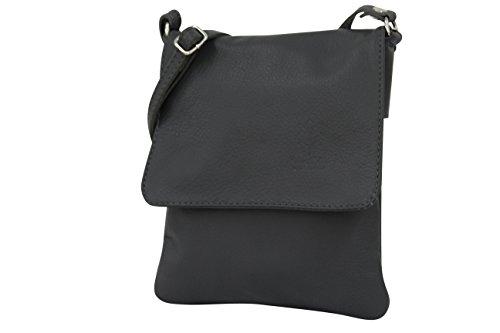 AMBRA Moda NL602 - Bolso de piel italianopara mujer –bandolera de hombro, de piel de napa, bolso pequeño, color Gris, talla Small