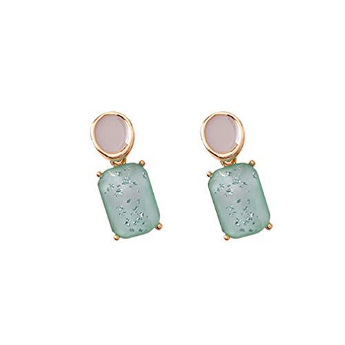LWANFEI Classic Square Oval Ohrringe Geometrische Ohrringe Bohemian Design Ohrringe für Frauen, Grün