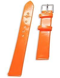 Original enez piel sintética Piel Pulsera B: 16mm reloj Ersatzarmband Naranja T543
