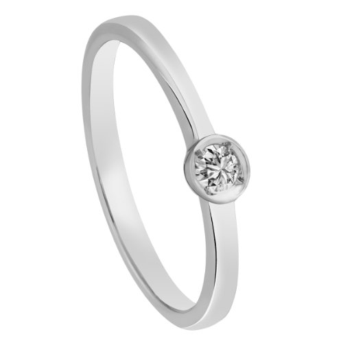 Diamond Line Diamant-Ring Damen 585 Weißgold mit 1 Diamanten 0.10ct. Lupenrein