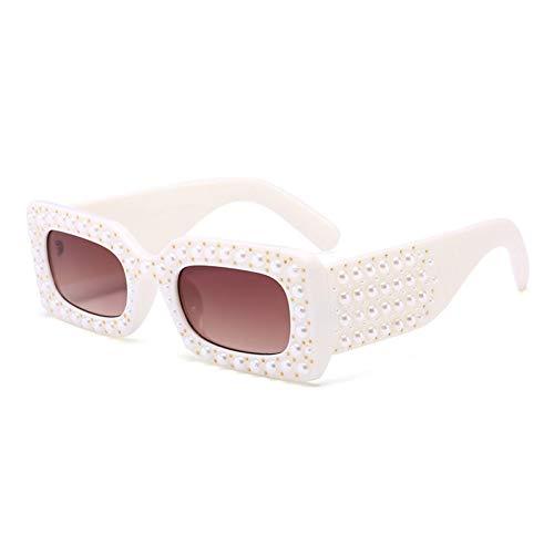 YLNJYJ Luxury New Pearl Crystal Small Square Women Men Sunglasses Goggle Black Sun Glasses Gradient Oculos Ladies Brand