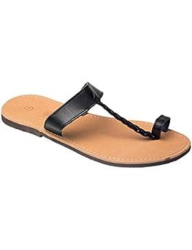 Damen und Herren Echt Leder Sandale Sandalette mit Zehen Riemen Braun Schwarz Beige 36- 47