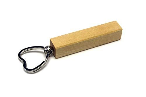 WoodBi Schlüsselanhänger aus Holz | 5 Holzarten, Gravur | Schlüsselring Geschenk Anhänger | Gute Qualität aus Deutschland (Birke, Herz) -