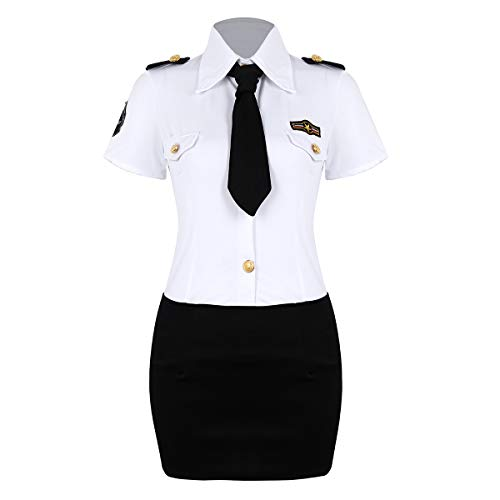 Polizei 20 Kostüm Officer - YOOJIA Cosplay Kostüm Damen Polizei Polizistin Uniform Dessous Lingerie Umlegekragen Shirt Bodycon Minirock Liebhalber Reizwäsche Weiss&Schwarz X-Large