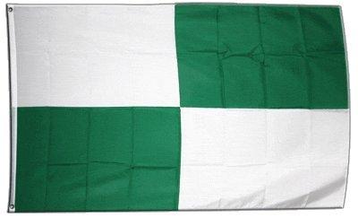 Fahne / Flagge FanFahne / Flagge 4 Karos grün-weiß + gratis Sticker, Flaggenfritze®