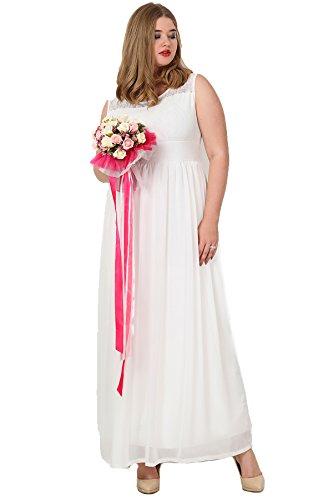 Designer Damen Kleid Abendkleid Empire Cocktailkleid Tüll Weißstickerei auch Große Größen, Ballkleid Hochzeit Feierlich Lang Gemustert �?auch in Übergröße Weiß