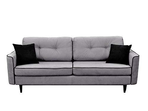 Mazzini Sofas Canapé 3 Places Convertible, Coton, Gris Clair/Noir, 238 x 100 x 71 cm