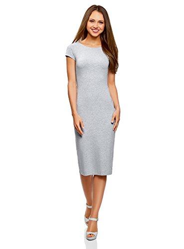 oodji Collection Damen Midi-Kleid mit Ausschnitt am Rücken, Grau, DE 32/EU 34/XXS