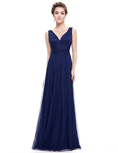 Ever Pretty Robe de cocktail Longue en V-col et le buste en ruche 08532 Bleu Marine
