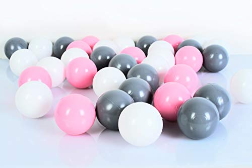 Koenig-Tom 100 Stück Bällebad Bälle 6cm ROSA-Mix in Kindergarten & Gewerbequalität