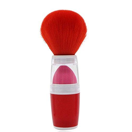 Gespout Pinceau de Maquillage Professionnel pour Visage Double Couche Nylon Poignée en Plastique Fond de Teint Poudre Blush (Rouge)