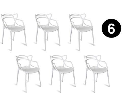 Master Lot de 6 chaises Blanches de Style intérieur/extérieur Moderne rétro Salle à Manger