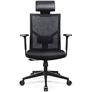 amzdeal Bürostuhl Ergonomischer Schreibtischstuhl mit Verstellbare PU Kopfstütze und Armlehne, Bürosessel Belastbar bis 136kg, Bürodrehstuhl mit Taillenkissen Chefsessel Wippfunktion, Office Chair