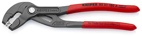 KNIPEX 85 51 180 A Federbandschellen-Zange grau atramentiert mit rutschhemmendem Kunststoff überzogen 180 mm