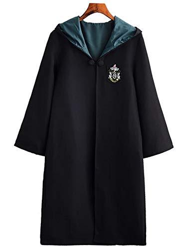 Monissy Harry Potter Kostüm Kinder Erwachsene Umhang Zauberstab Gryffindor Hufflepuff Ravenclaw Slytherin Set Fanartikel Weste Krawatte Schal Brille Halskette Karneval Verkleidung Fasching - Slytherin Kostüm Kind