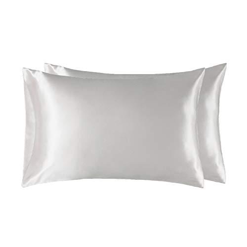 Bedsure Funda Almohada 40x80cm de Satén Pelo Rizado Blanco 2 Piezas - Muy Liso Suave de 100% Microfibra...