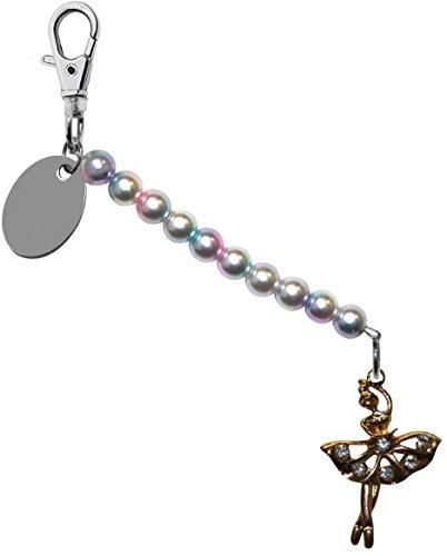 t Tutu Ballerina Perlglanzfarbe Perle schlusselring / Handtaschen Anhänger in Geschenk Beutel bd6pl514 (Personalisierte Tutu)