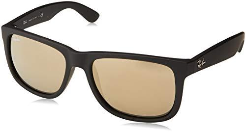 Ban Ray Black-herren Sonnenbrille (Ray-Ban 0RB4165 Justin Classic Sonnenbrille Large (Herstellergröße: 55), Schwarz (Gestell: schwarz, Gläserfarbe: gold verspiegelt 622/5A))