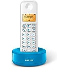 Philips  D1301WA/23 - Teléfono inalámbrico con pantalla iluminada de 4.1 cm, 10hrs conversación, Blanco y azul, 1 Pieza