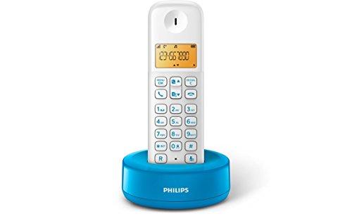 Philips D1301WA Telefono Cordless con Display da 4.1 cm, Retroilluminazione, Azzurro/Bianco