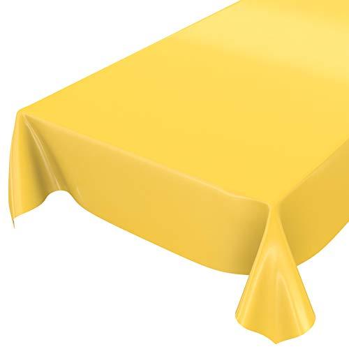 ANRO Wachstuchtischdecke Wachstuch abwaschbare Tischdecke Uni Glanz Einfarbig Gelb 220x140cm